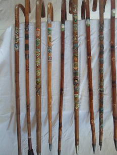 Collection of 9 walking sticks with souvenir pictures