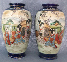 Pair Satsuma Pottery Vases blue Cobalt & Gil  - Japan - Early 20th century