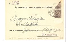 Italy, RSI 1944 – Franking of 15 cents in exact tariff with one Authorised Delivery 10 cents  stamp and another one cut in half (i.e. 5 cents) on district postcard (Gandino)