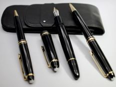 "Montblanc Meisterstück - triple set - 146 ""Le Grand"" fountain pen  (14K solid gold nib), ballpoint and mechanical pencil"