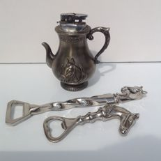 Vintage table lighter and 2 bottle openers with horse head