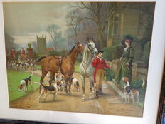 Framed printed hunting scene English style by S.Sanderson - Wells