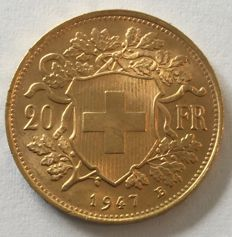 Switzerland - 20 francs 1947 B 'Vreneli' - gold