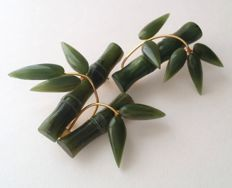 Vintage gold plated Jade brooches, from 1970's