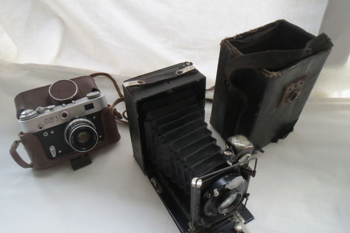 "FED-3. USSR produced FED (Kharkov) 1961-1979.As a gift, a rare and disappearing camera ""Photokor №1"" (not working) 1930-1943 USSR."