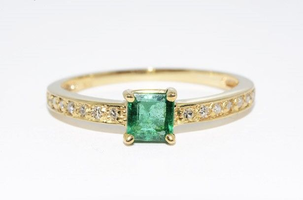 Emerald & Diamond Cocktail Ring 14K Yellow Gold; Ring Size: 8.25