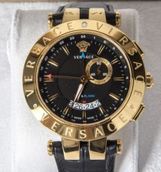 Versace – Modello V-Race 29G70D0095009 – GMT – Alarm – Men's wrist watch – New.