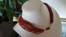 Vintage Stunning necklace of   WIRE of coral Sciacca  - weight  Italian – circa 1950/1970