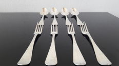 4 silver table forks and spoons, J. H. Tarner, Amsterdam, 1869