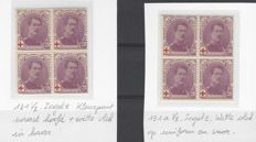 Belgium 1914 – Albert I, Red Cross 20c Violet, in blocks of 4 – Curiosity in number 131, on the top right stamp, in number 131a on the bottom left stamp – OBP numbers 131 and 131a.