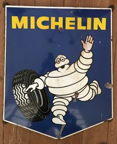 "Old enamelled plate ""1965"" MICHELIN 80x61cm"