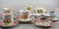 Royal Albert - creamer set and 5cup&saucers (Kentish Rockery, Blossom Time, Silver Birch and Lady Carlile)