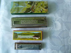 Lot with two harmonicas - Hohner The Echo Harp 56/96, C/G major - Seydel Tremolo, C major, made in Germany, in original packaging