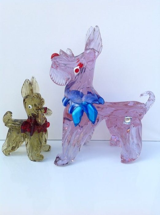 Murano - 2 vintage Scottish Terrier dogs