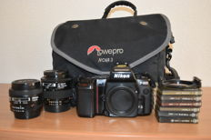 Nikon F801 with 2 lenses Nikkor 24 and 35-70 mm , Cokin filters and lowepro bag (all manuals etc present