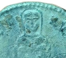 The Roman Empire - Fausta, Augusta 324-326 AD - Æ Follis (Bronze, 19mm; 2,50g.) - Ticinum mint, struck c. 326 AD - Bust of Fausta / Spes - RIC -; compare RIC VII, 203,Q - Extremely Rare