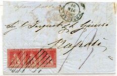 Tuscany 1851 – 1 crazia, light carmine on grey, strip of three without watermark, cancelled on letter sent from Livorno to Naples – Sassone No. 4