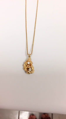 10k diamond chain Nuggets 14k pendant 14g. NO RESERVED