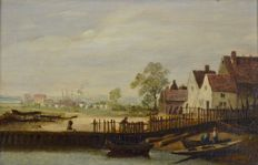 Attributed to Philip Reinagle. (1749-1833) - The River Thames near Chelsea, London.