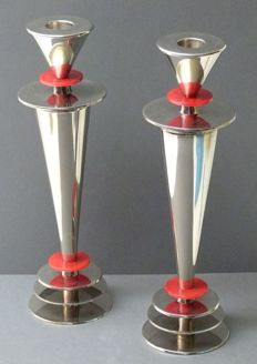 Unknown designer - candlesticks made of metal and bakelite