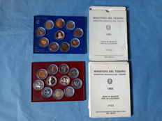 Republic of Italy – Divisional series 1985 and 1986 (including silver)