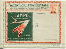 Italy, 1921 - Advertising stamps, 20 cents, orange, on unused envelope