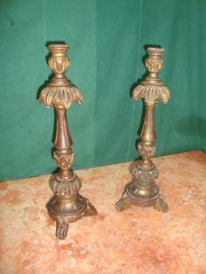 Pair of large candle-holders - Portuguese - Altarpiece XIX Century