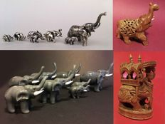Small collection of 16 elephants in silver – glass – wood