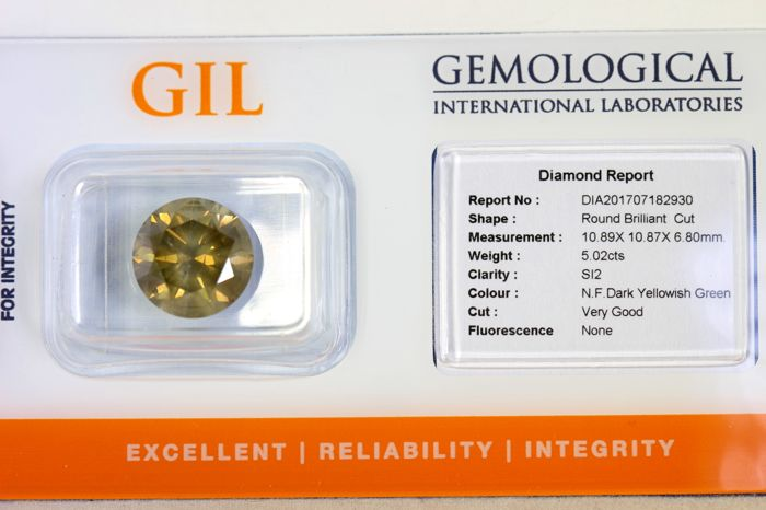 Diamond – 5.02 ct – Fancy Dark Yellowish GREEN – SI2