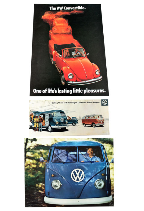 3 VW brochures: 1957 and 1963 Van and 1974 Beetle convertible.