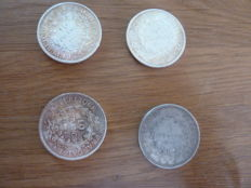France – Lot of 4 coins 1875/1966 – Silver