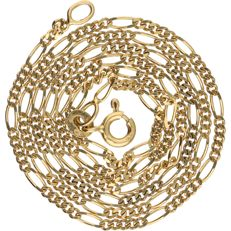 14 kt - Yellow gold figaro link necklace - Length: 45.5 cm