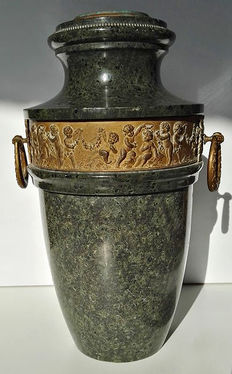 Verde Issoire marble vase with bronze bas-relief - ca. 1900