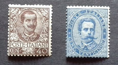 Kingdom of Italy, 1879 - Sassone no. 40 and 1901 Sassone no. 74