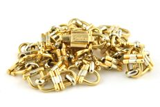 Exclusive CARTIER Necklace - Yellow & White 18k / 750 Gold Chain Fancy-Link Necklace from Cartier Collection - Length 42cm
