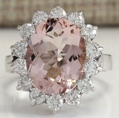 5.80 Carat Natural Morganite And Diamond Ring In 14K Solid White Gold  *** Free Shipping *** No Reserve *** Free Resizing ***