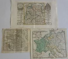 France, Savoya, French empire; Bodenehr / F. Laso / I. C. Hinrichs - 3 copper engravings - 1710 / 1812 / 1720