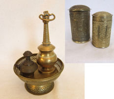 Two Copper storage jars, Gendi, water sprinkler and offering bowl – Among others Padang – Indonesia.