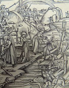 Gruninger Master; Virgil - Brandt Edition -  The Aeneid. Galleon, Visit to the Underworld, Hell, Funeral Pyre - 1502