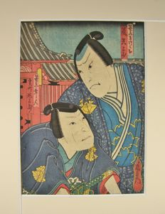 A woodblock print depicting two Kabuki actors as samurai - Osaka school - Japan - ca. 1850
