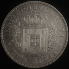 Portugal – 1 Rupee in SILVER – D. Luís I – 1881 – Portuguese India – AG: 14.01