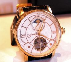 LOWELL watch - automatic with moon phases - 1996, 18 kt yellow gold plated