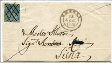 Tuscany 1851 – 6 crazie, greenish blue on grey, on letter sent from Empoli to Siena – Sassone  No. 5f, cancellation P4