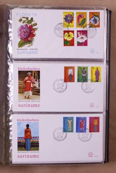 Netherlands Antilles and Suriname 1938/1985 - batch of  FDCs, covers and stamps in 7 albums