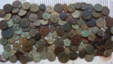 Roman Empire - LOT of 150+ x AE Roman Coins (3rd Cent  - 4th Cent. AD), mostly Constantine dynasty, from AE4 up to Antoninianii, various emperors
