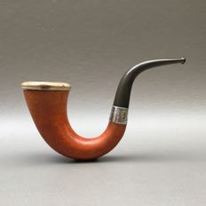 "Wonderful early calabash pipe ""Maurice Flixher"" with meerschaum pipe bowl - England, 1910"