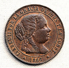 Spain - Isabel II - 1/2 copper escudo cent - 1866 - Segovia.