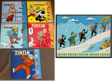 Tintin - compleet stickervel van 5 voor Opération 48.81.00 / Lotto + 5 albums met herplaatsbare stickers (autocollants repositionnables) - (1978-2003)