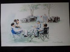 "1 original watercolour drawing ""Aston Martin etc."" by Philippe Godet, France, approx 30 cm x 20 cm"