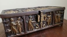 Heavy Bronze Case with Religious scene in hammered copper- France - 18th century